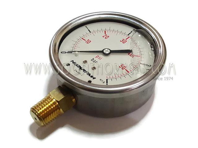 เกจ์วัดแรงดันแก๊ส (น้ำมัน) HIGH PRESSURE GAUGE NUOVA 0-4 kg