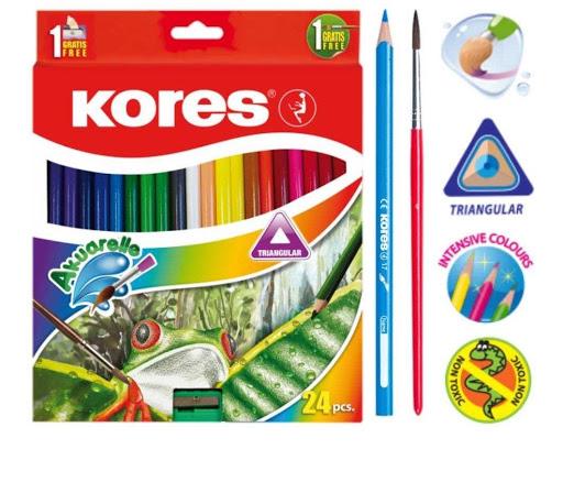 colores kores acuarela + pincel + sacapuntas 24 und
