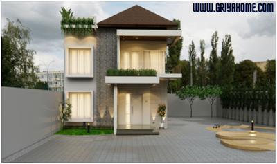 Desain Rumah Minimalis 2 Lantai Berhalaman Luas.