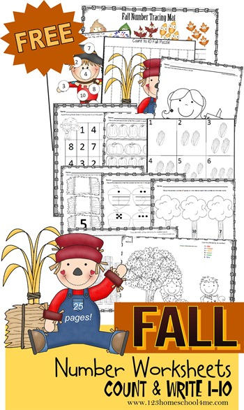 Fall Counting Worksheets Preschool Kindergarten