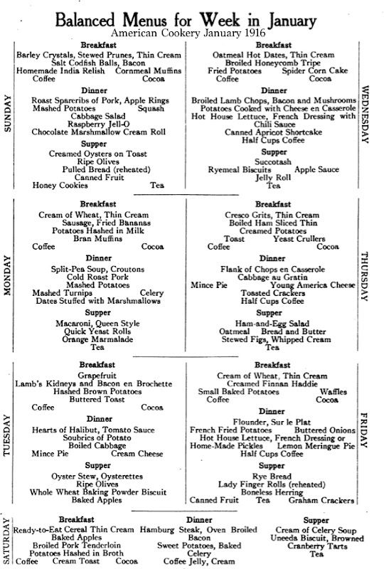 American Cookery Magazine Menu 1916