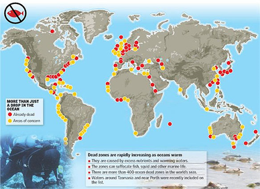 Geographical extent of more than 405 coastal dead zones worldwide. New dead zones discovered by scientists are now traversing mid-ocean regions. Graphic: No Fish Left