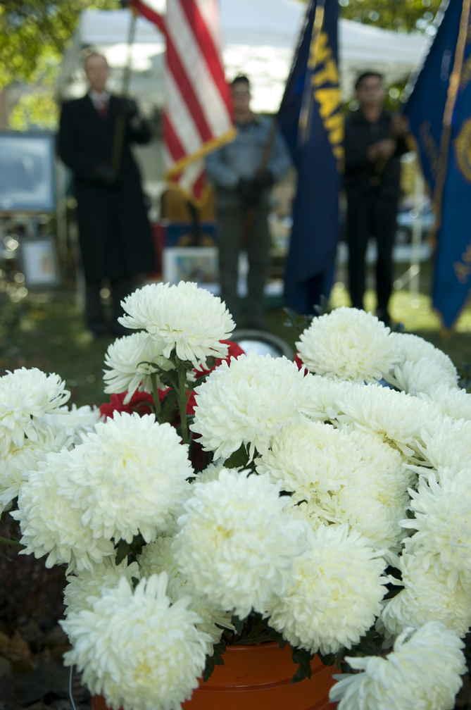 A wreath-laying ceremony is held at the Doughboy Statue on the Missoula County Courthouse lawn on Veterans' Day. The ceremony is sponsored by Missoula's American Legion Forgotten Warriors Post 101. Photo by Xian Wang.