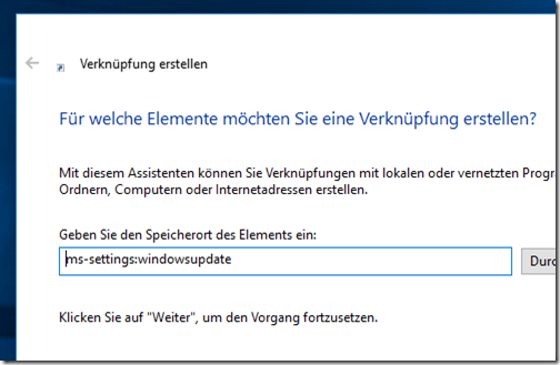 Windows Update Verknüpfung auf Desktop