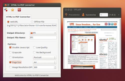 Convertire una pagina HTML in PDF con un click