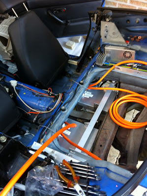 Under-car battery boxes in position