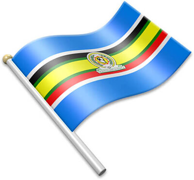 The East African Community flag on a flagpole clipart image