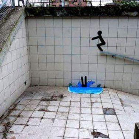 Dibujo de un salto en un a piscina