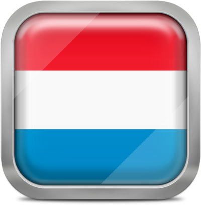 Luxembourg square flag with metallic frame
