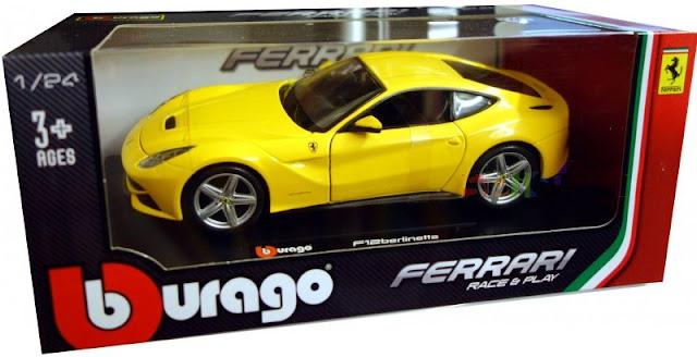 Sản phẩm mô hình Ferrari F12 Berlinetta màu vàng tỷ lệ 1:24 Bburago