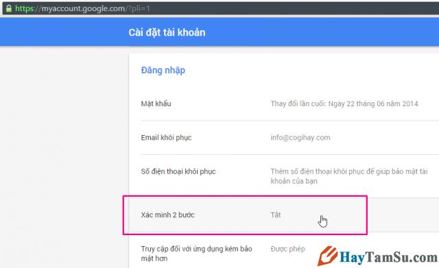 Phần thiết lập tài khoản Gmail