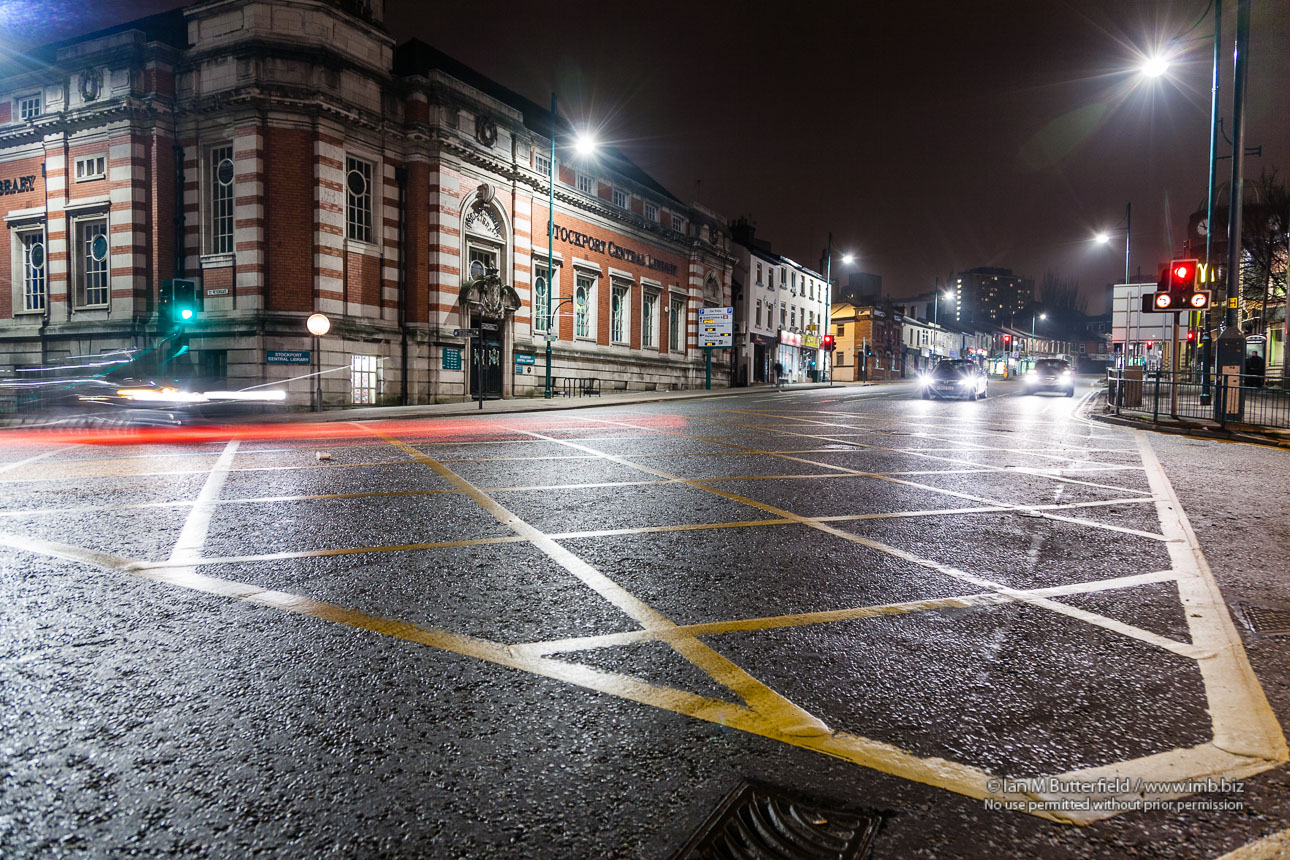 POTD Thursday, 22 Jan 2013 : Stockport Library and the A6 at Night