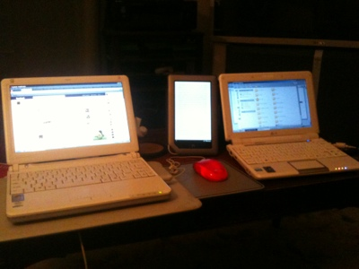 My Averatec 1020, my Nook Tablet, and my Asus Eee 1000HD