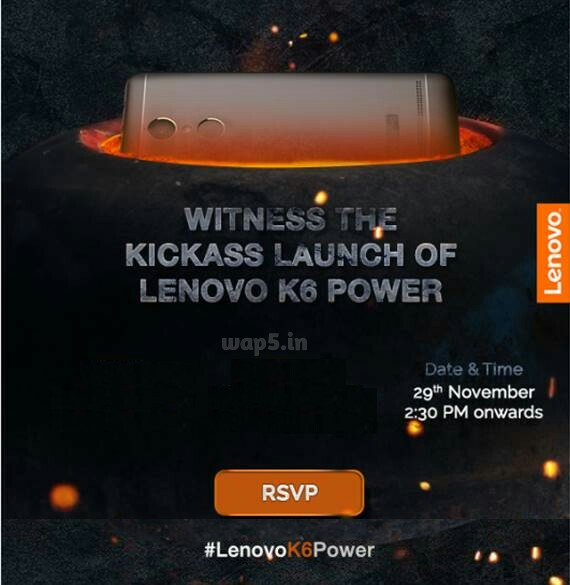Lenovo K6 Power with 4000mah will Launch in India on 29th November