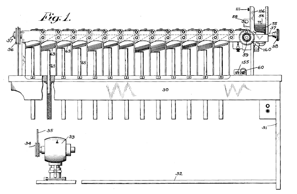 IBM card sorter, from patent 1,684,389.