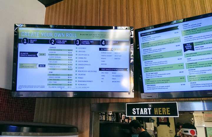 photo of the digital menu displays