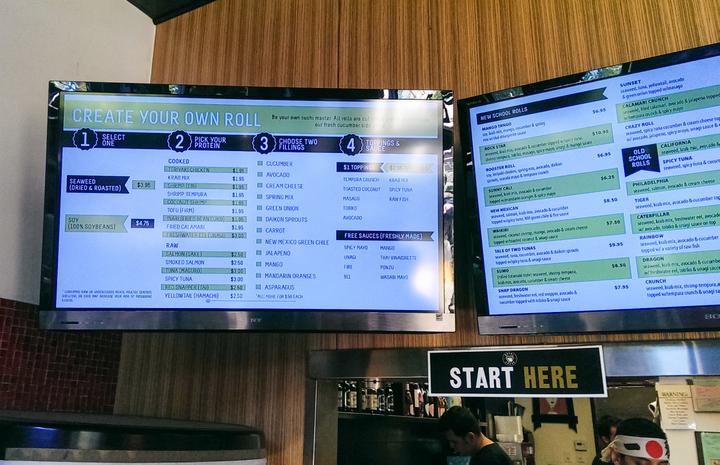 photo of the digital menu displays