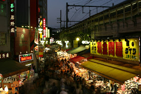 View of Ameyoko street market near Ueno