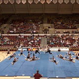 The Senior Team from Summit Cheering Athletics in Missoula performed a halftime routine Tuesday night as the Lady Griz enjoyed a 75-45 victory over the MSU-Northern Skylights.  Dahlberg Arena in Missoula, Mont., November 13th, 2012.