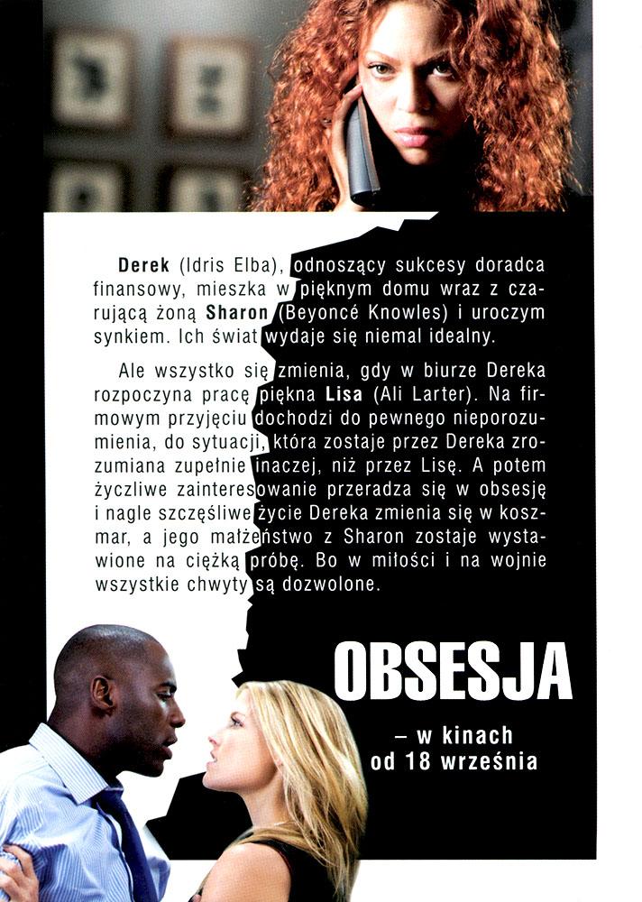 Ulotka filmu 'Obsesja (tył)'