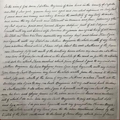 Benjamin Nathan 1806 Will