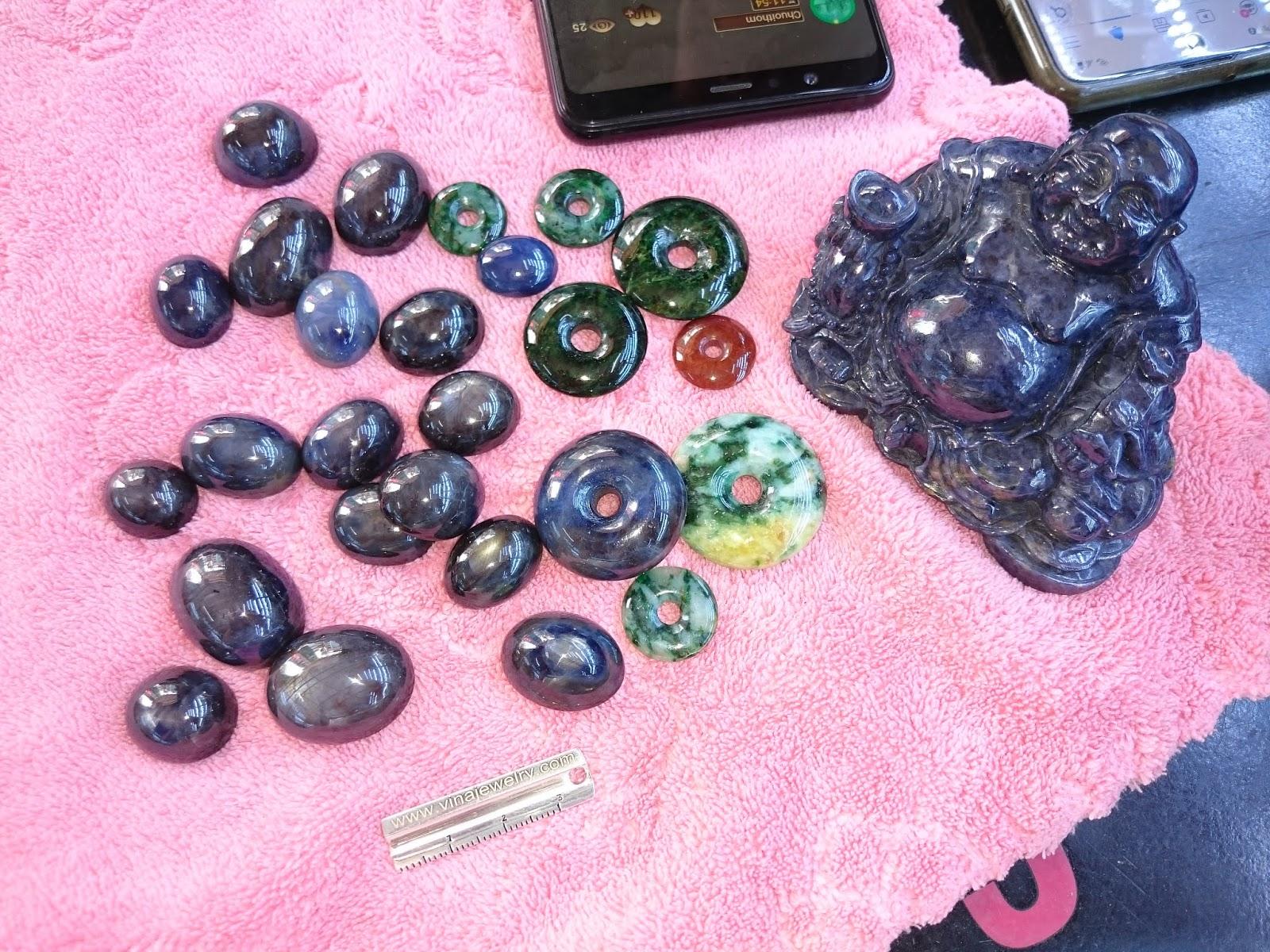 Đá quý Sapphire chế tác mặt nhẫn, mặt dây, tiền điếu, tượng Phật Di Lạc