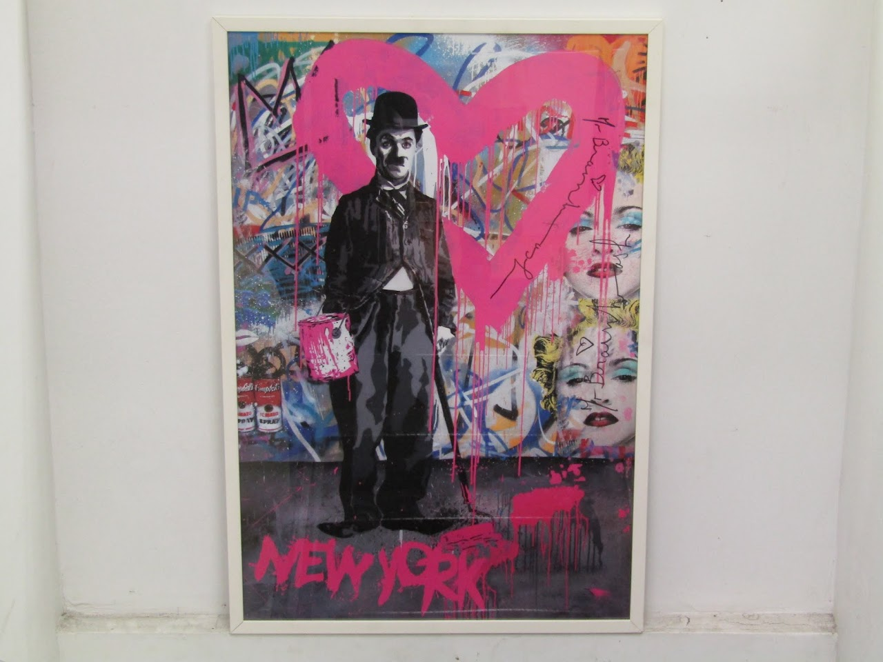 Signed Mr. Brainwash's Charlie Chaplin Poster