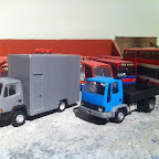 Leyland Roadrunner and Ford Cargo  I needed some smaller lorry's to fill my diorama . so set about making a truck used by many builders .so set about making a drop sided tipper all scratchbuilt with an RTI cargo cab .. and the grey box is a similar replica to a British Telecom mobile workshop . all scratch built and a RTI Leyland Roadrunner cab