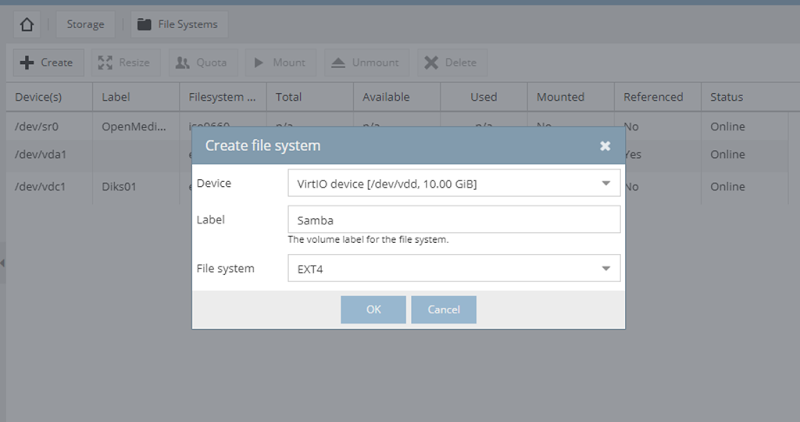 create filesystem omv 1