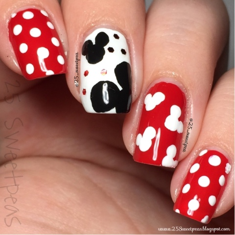 mickey mouse inspired nails  25 sweetpeas