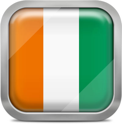 Cote d'Ivoire square flag with metallic frame
