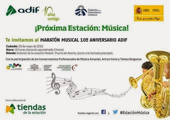 Maratón Musical en Atocha, viernes 29 de mayo 2015 a las 18 horas
