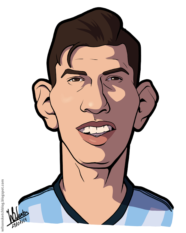Cartoon caricature of Kun Agüero.