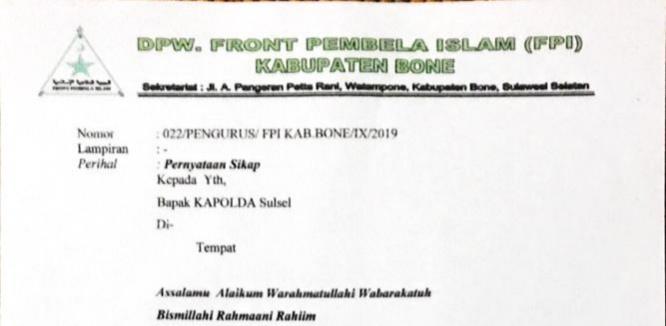 DPW FPI Bone Surati Kapolda Sulsel, Ini Sejumlah Isi Suratnya