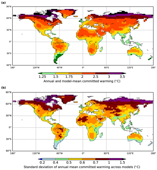 Maps of calculated equilibrium warming levels for contemporary year 2015 greenhouse gas concentrations, based on knowledge of individual GCM climate sensitivity, land-ocean contrast and regional pattern-scaling. Panel (a) is multi-model mean of annual warming and panel (b) is the standard deviation between the GCMs emulated by scaling. Graphic: Huntingford and Mercado, 2016 / Scientific Reports