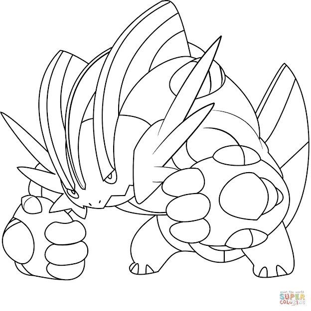 Click The Mega Swampert Pokemon Coloring Pages To View Printable Version Or  Color It Online Patible With Ipad And Android Tablets