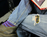 Al is wearing the paisley boxers with the purple striped socks this travel day