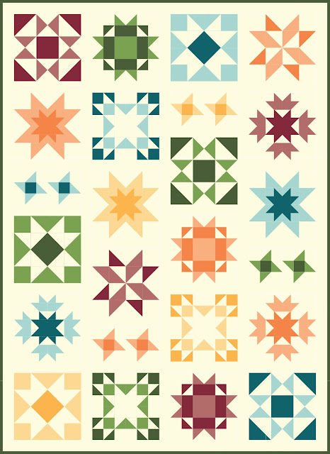 Clear Sky quilt pattern by Andy of A Bright Corner - a modern sampler style star quilt in fall colors