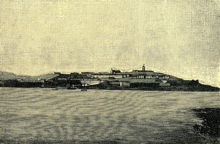 Isla Isabel II (Chafarinas). (De fotografia tomada desde el CITTA DI MILANO). Foto y texto de la revista NATURALEZA CIENCIA E INDUSTRIA. Año 1891..jpg