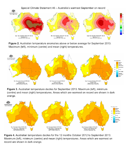 sept 2013 heat anomlay and sring 2013 australia
