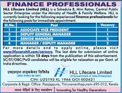 HLL Lifecare Limited Advertisement 2019 indgovtjobs
