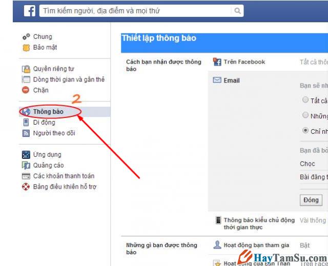 Cấu hình phần thông báo Facebook