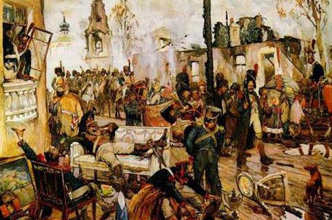 Грабеж Москвы  наполеоновскими солдатами