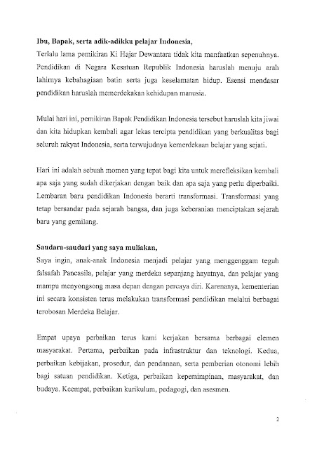 Pidato Menteri Pendidikan, Kebudayaan, Riset, dan Teknologi dalam Peringatan Hardiknas Tahun 2021