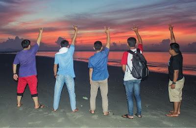 Sunrise, matahari terbit di pantai pagatan dan kubah pagatan