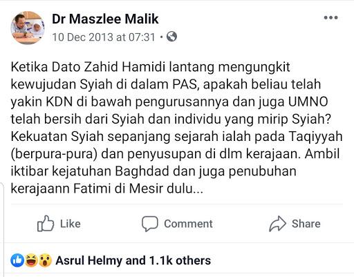 Dr Maszlee Pernah Mengulas Isu Syiah