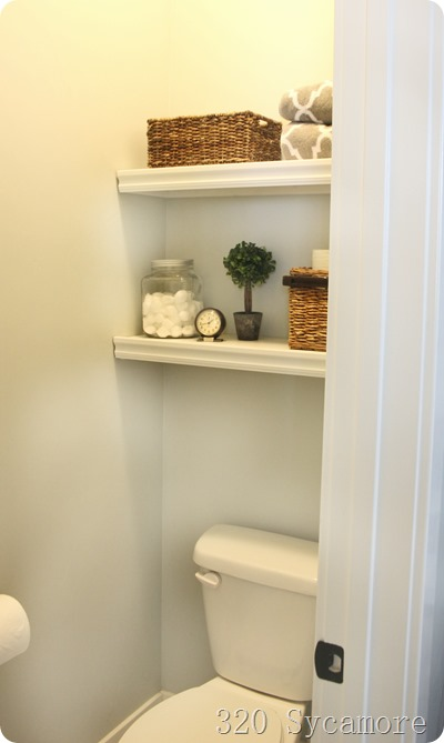 easy shelves above toilet