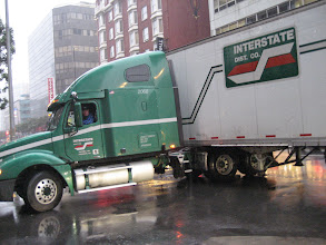 Photo: The truck made a sharp turn that still took all 4 lanes of 4th street.