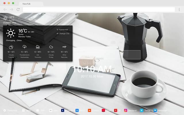 Coffee new tab page HD pop drink theme