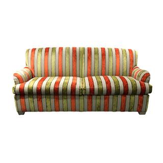 Striped Velvet Scroll-Arm Convertible Sofa